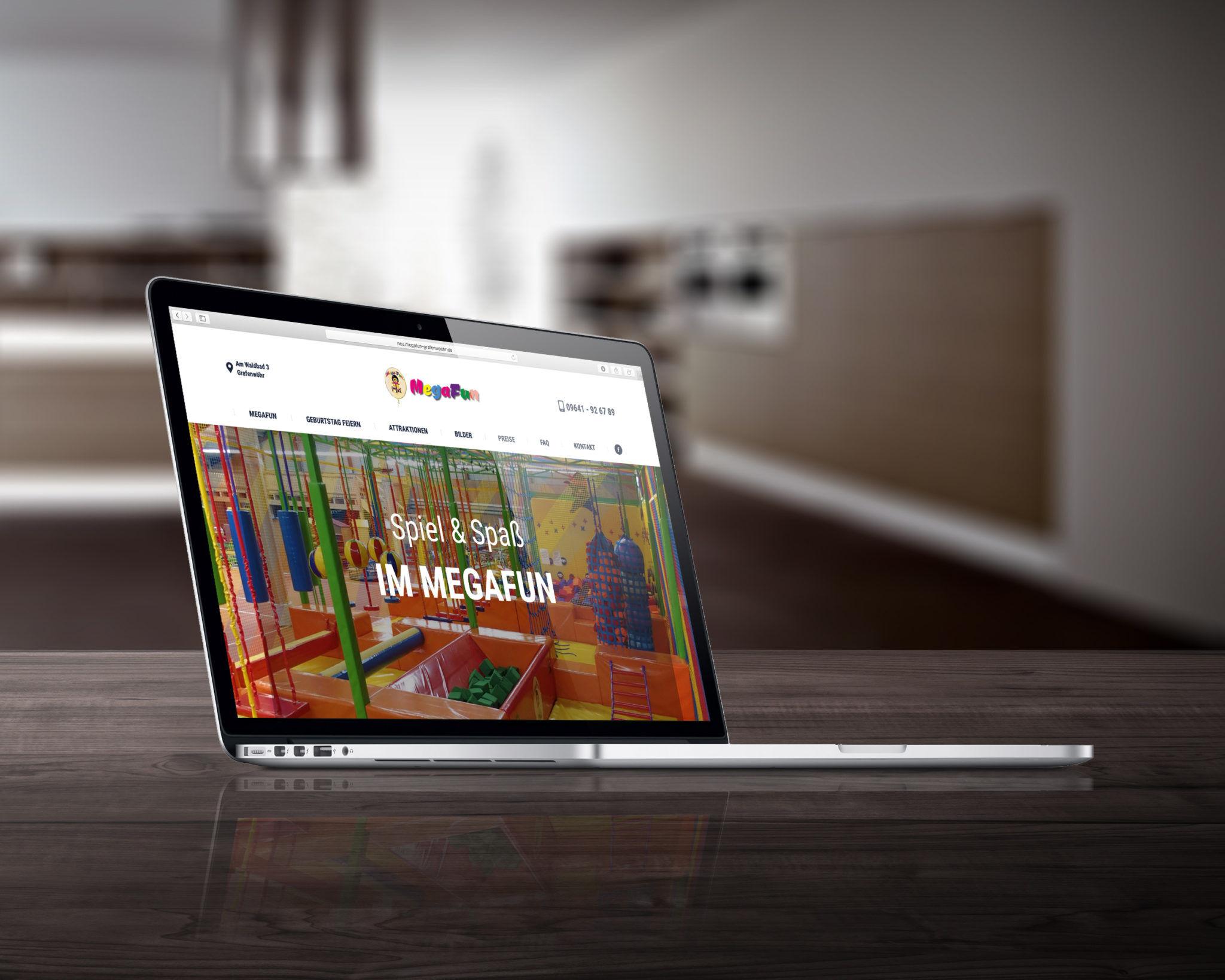 Webseite Megafun visualisert
